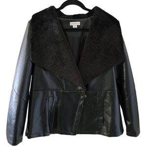 Black Faux Leather Faux Fur Jacket Jaclyn Smith
